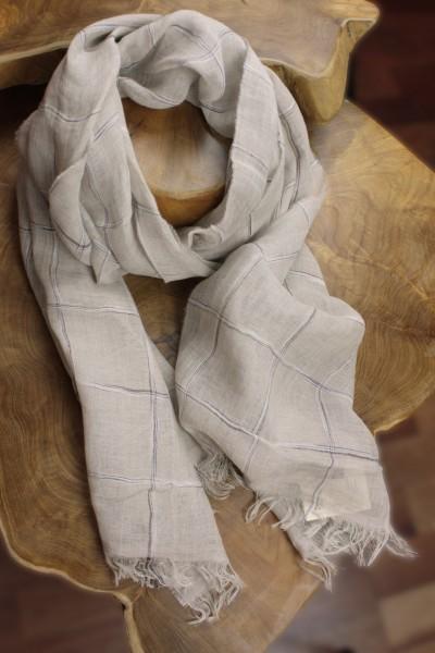 Schal aus 100% Leinen mit fein gewebtem Karomuster, 57 x 200 cm