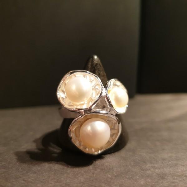 Süßwasserperlen-Ring 925 Sterling-Silber