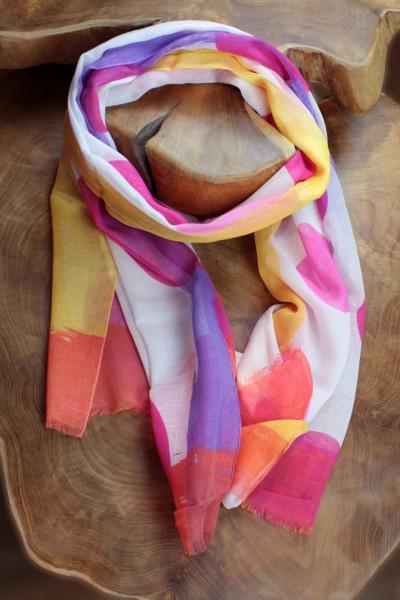 Tuch mit fröhlichen Punkten, Baumwolle/Viscose/Leinen, 60 x 180 cm