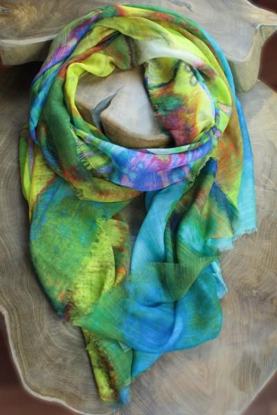 Tuch mit tropischem Print Modal/Baumwolle/Seide 90 x 200 cm