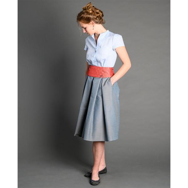Kleid GRETA hellblau/gemustert